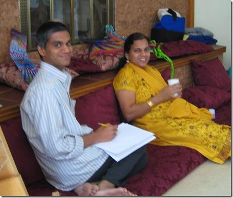 ganesh and dhanya prep for puja songs